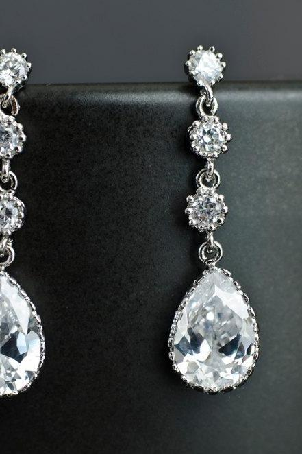 Bridal Earrings Cubic Zirconia Earposts , Cubic Zirconia Connectors and Teardrop Bridal Earrings, Cubic Zirconia Silver Wedding Jewelry