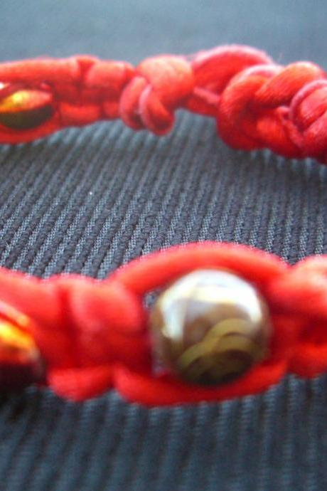 Red Macrame Bracelet Brown Gold Swirl