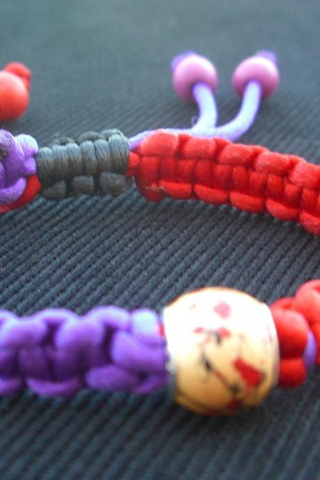 Purple Macrame Bracelet Red Satin