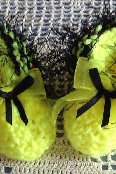 Fuzzy Black Fur Trimmed Delicate Neon Yellow Handmade Baby Booties
