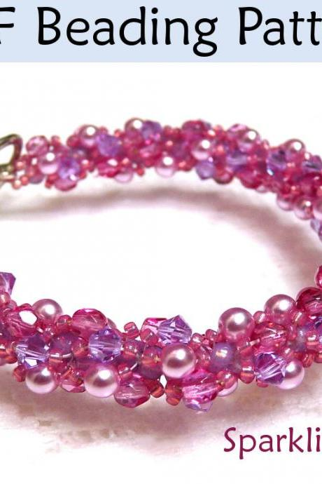 Beading Tutorial Pattern Bracelet Necklace - Double Spiral Stitch - Simple Bead Patterns - Sparkling Spiral #424