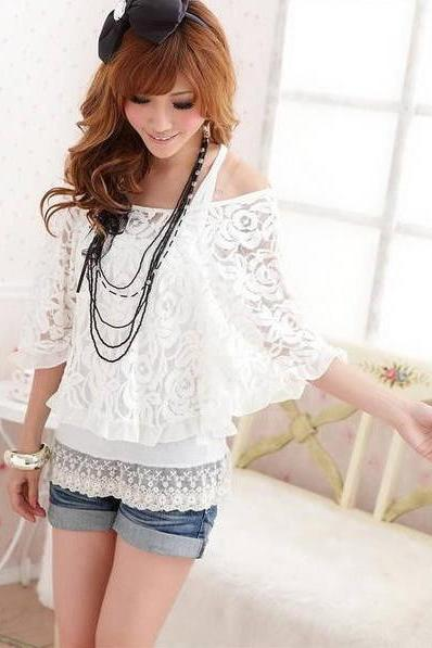 Free Shipping Batwing Sleeve With Tank Top Lace Twinset Blouse