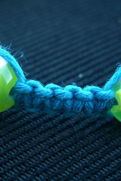 Teal Hemp Bracelet Macrame Green