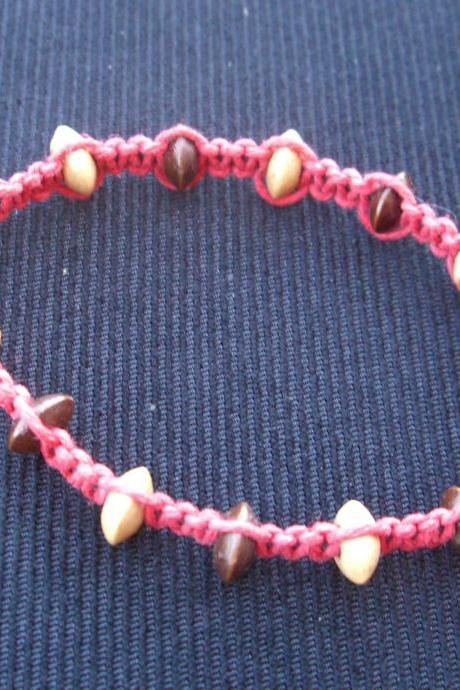 Macrame Bracelet Red Hemp Wood Disc