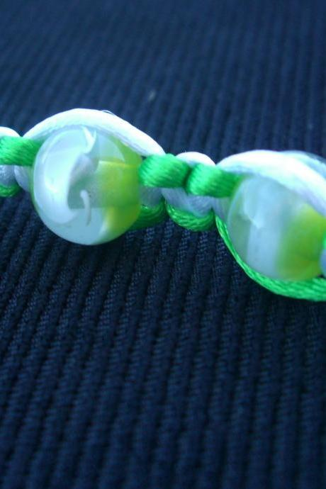 Green Macrame Bracelet White Satin