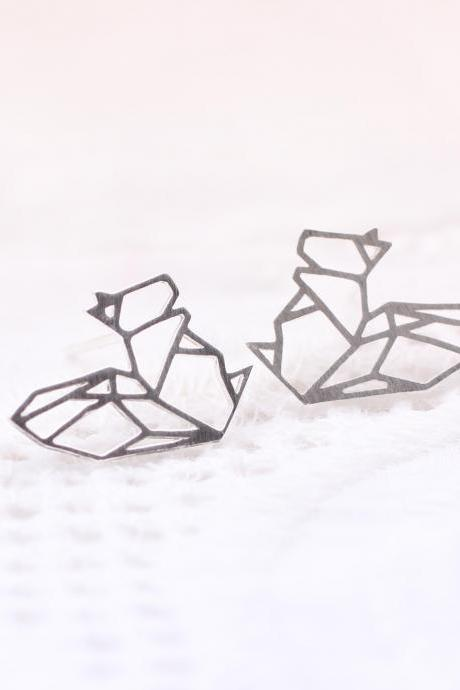 Cut-Out Forest Squirrel Earrings in silver