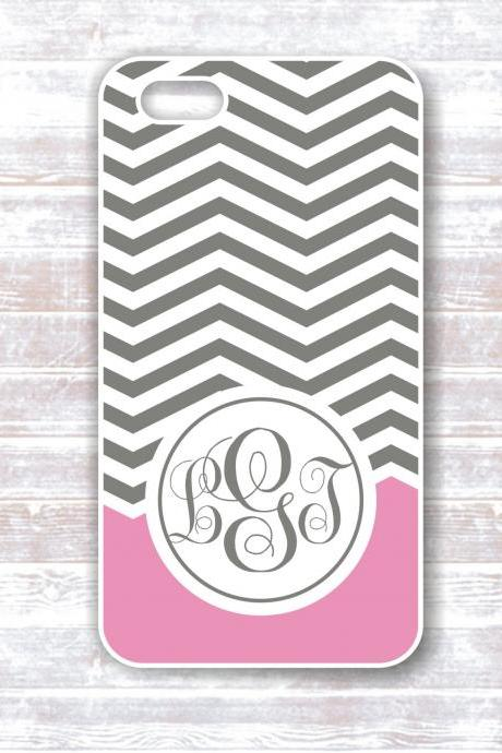 Monogrammed iPhone Case - Grey Chevron with Pink Accent Monogram - Hard protective covers for IPhones