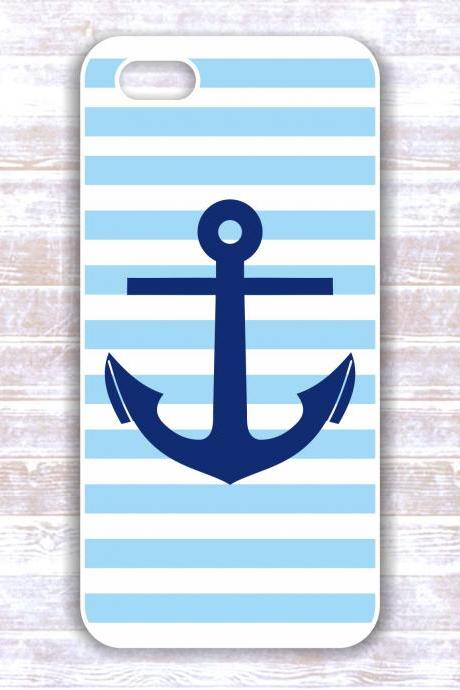 Anchor iPhone 4 /4S Case - Nautical Blue Stripes Navy Anshor - Protective iPhone Hard Dases