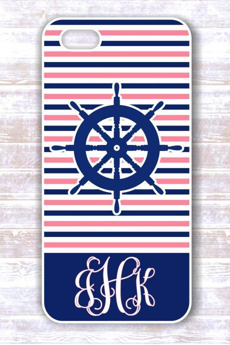 Iphone - Iphone 4/4S - Monogram Nautical Stripes Personalized Cover for IPhones