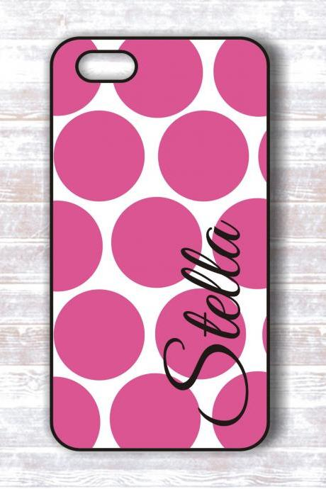 Iphone 4/ 4s case - unique hot pink polka dot personalized hard cover - iphone hard covers