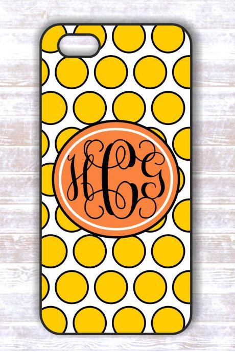 Monogrammed Iphone Iphone 4/4S case - Yellow Polka Dots Personalized Hard Cases for iphone 4/ 4S
