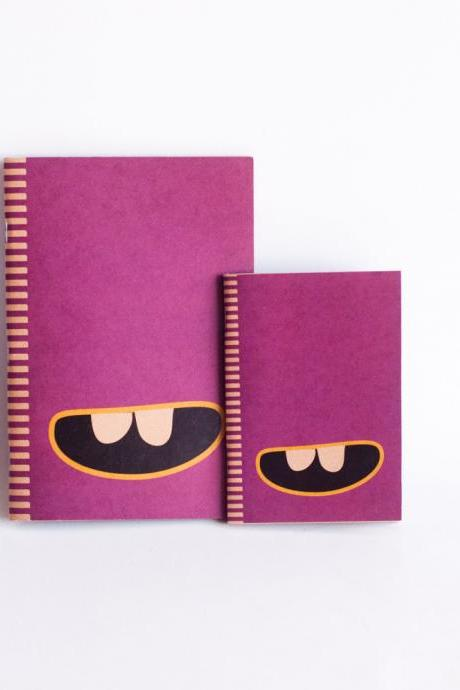 SET OF 2 : Kraft Paper & Saddled Stitched Notebooks - Purple Monster