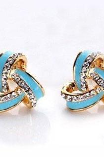 Shining Rhinestone Fashion Earring Studs
