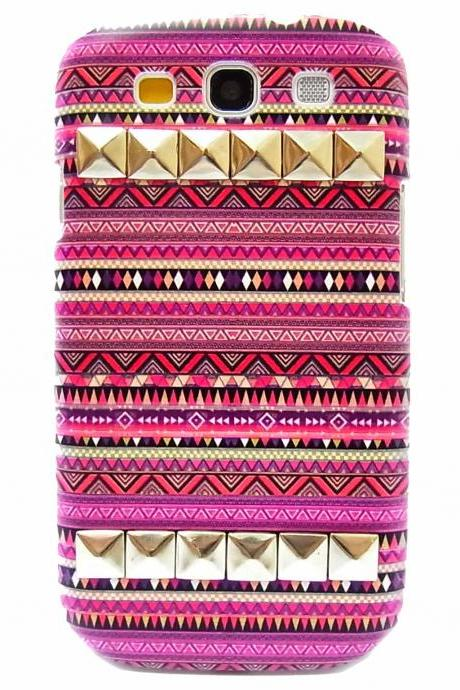 Aztec Tribal Geometric Pattern Silver Pyramid Studded Hard Skin Case Cover For Samsung i9300 T999 Galaxy S3 T-mobile B2