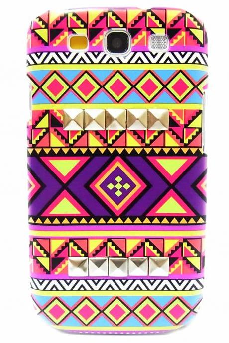 Aztec Tribal Silver Pyramid Studded Hard Skin Case Cover For Samsung i9300 T999 Galaxy S3 T-mobile B1
