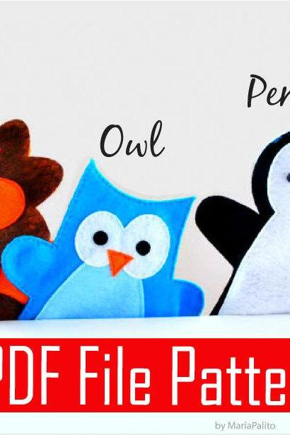 PDF Sewing Pattern for Lion, Owl and Penguin Hand puppet - 3 Puppet Pattern PDF File A510