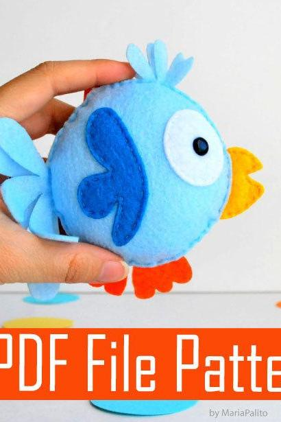 Felt Bird Sewing pattern - PDF ePATTERN plush pattern - DIY Pattern File A504