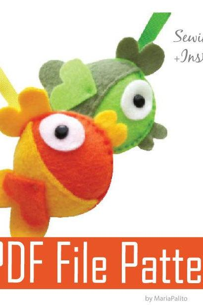 DIY Felt Fish - PDF Sewing Pattern Felt Fish Ornament A199