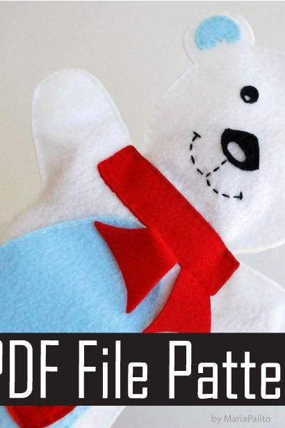 Baby Polar Bear Hand Puppet PDF Sewing Pattern A512