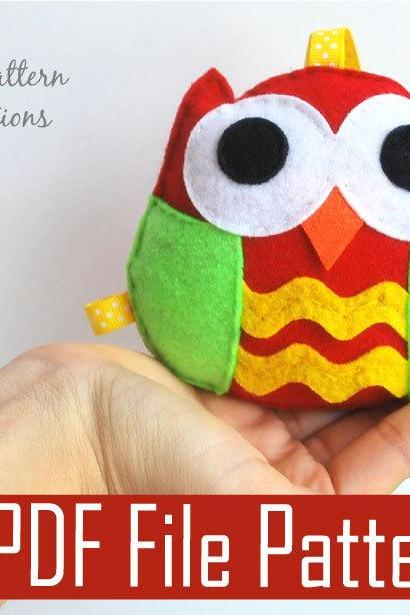 Christmas Owl Ornament, Rattle baby toy PDF Sewing pattern , Kids craft Project A669