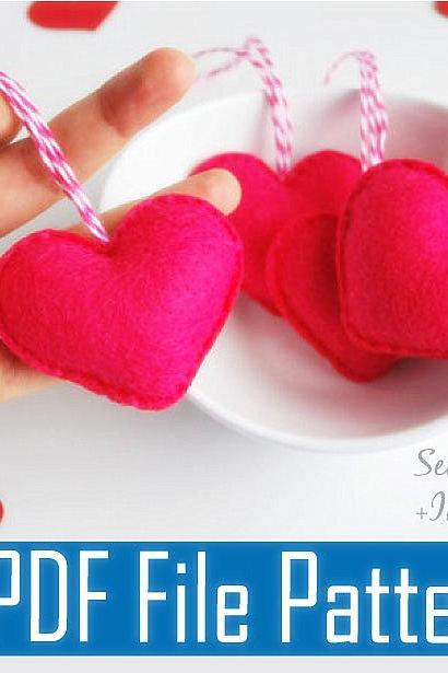 Heart Mini Ornaments PDF Sewing pattern , Kids craft Project A496