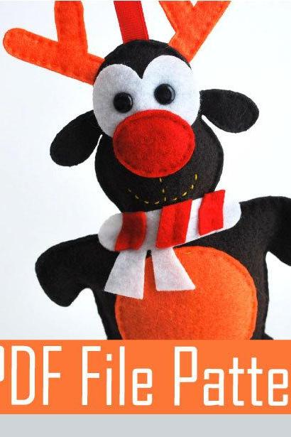 Reindeer PDF sewing Pattern, Adorable Rudolph felt Christmas Ornament A319