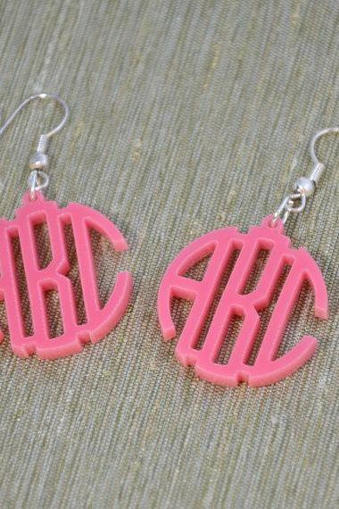 3 Initials Circle Monogram Earrings - Personalized Monogram Acrylic Custom Lasercut