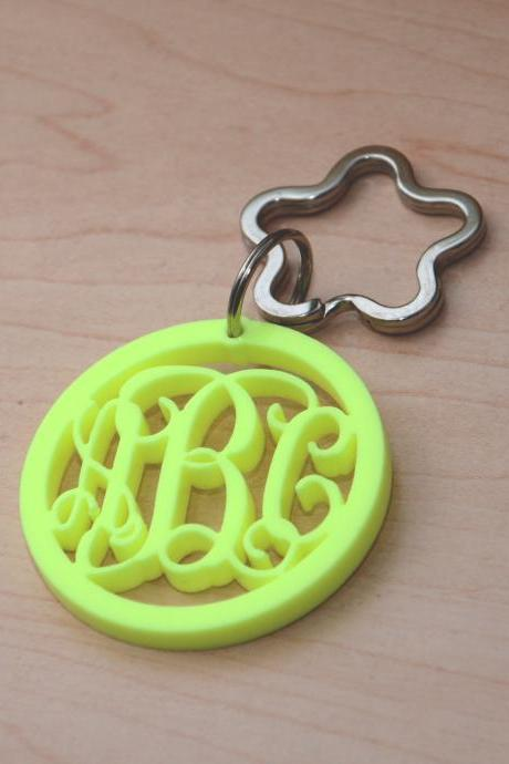 3 Initials Monogram Keychain in Circle - 2.5 inch Vine Personalized Monogram Acrylic Custom Lasercut
