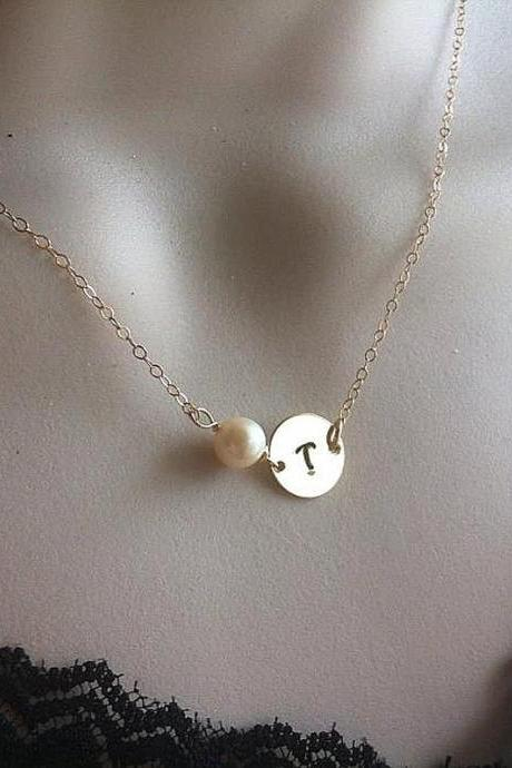 14k Gold Fill Necklace,Layering Necklace,Initial Necklace,Monogram Customize initial Necklace,Pearl Necklace,Bridesmaid Gifts