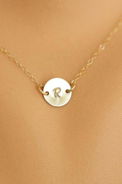 Monogram Necklace, GOLD Initial Disc Charm Necklace,Small initial letter charm,Bridesmaids Gifts, Mother's Jewelry,Daily Jewelry