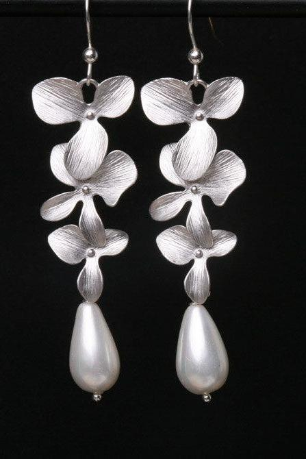 Orchid Flower Sterling silver Earrings,Teardrop Pearl,Flower Jewelry,Dangle Earrings,Wedding Jewelry,Bridesmaid Earrings