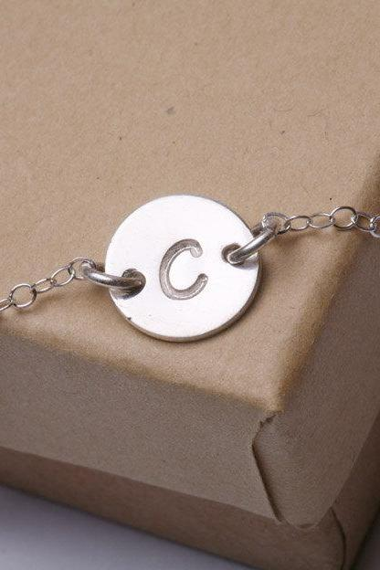 Initial Necklace, Tiny Initial Charm Sterling silver Necklace, simple daily jewelry, Birthday, Bridesmaid Necklaces