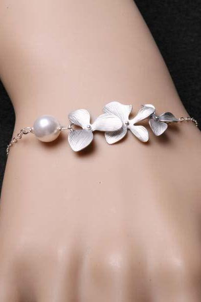 Orchid Flowers Bracelet and White Pearl, Sterling silver Bracelet, Birthday, Anniversary, Wedding Bracelet, Bridesmaid Gifts