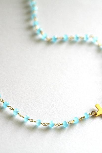 Long layered Chalcedony and Cross necklace,Long necklace,Sideways cross necklace,Gold,Mother Jewelry,Chalcedony