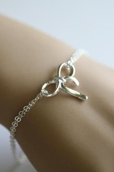 Sterling silver bow bracelet, silver knot bracelet, tie the knot, bridal party jewelry gifts,sisterhood,graduation gift
