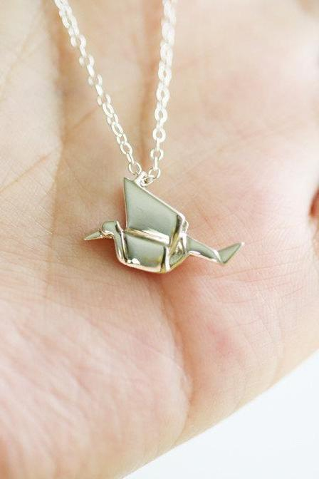 Sterling silver Origami Crane Necklace,Everyday Necklace,Daily Jewelry,flower girl,sterling silver bird necklace