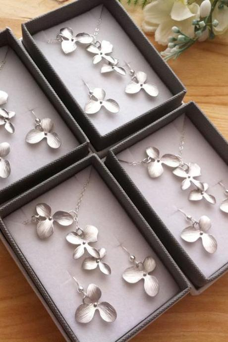 Set of 4,Bridesmaid gifts,Jewelry Set,Orchid flower lariat necklace and earrings,Flower girl,Wedding Jewelry,flower Jewelry