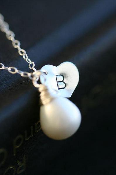 Personalized initial and Birthstone Sterling silver Necklace,Heart,Pearl,Anniversary,Bridesmaid gifts,wedding jewelry,bridal,monogrammed