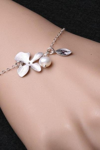 Orchid flower and leaf initial sterling silver bracelet,Flower jewelry,Flower girl,Bridesmaid gifts,Wire wrapped pearl,Adjustable bracelet