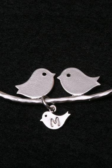 One baby bird,bird Initial personalized Bracelet,Bird on the branch,bird initial,Mother jewelry,Baby bird bracelet,Mom and baby