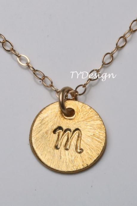 Custom Gold plated Initial Necklace, Tiny Initial Letter charm, Everyday daily Jewelry, Birthday, Bridesmaids Jewelry