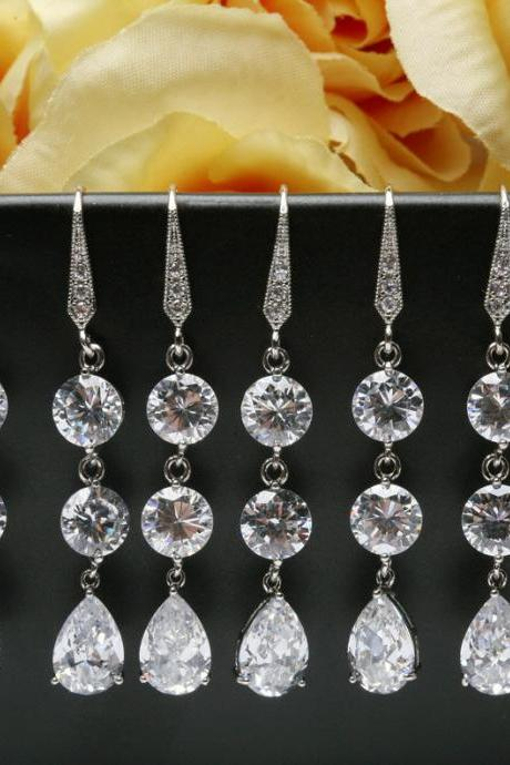 Set of 6,Bridal Earrings Cubic Zirconia Ear Wires,Cubic Zirconia teardrop,bridesmaid earrings,dangle earrings,wedding jewelry