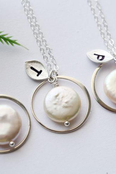 Set of 5,Eternity circle necklace,Coin Pearl, Leaf Initial, Bridesmaid gifts,wedding jewelry,Halo necklace,