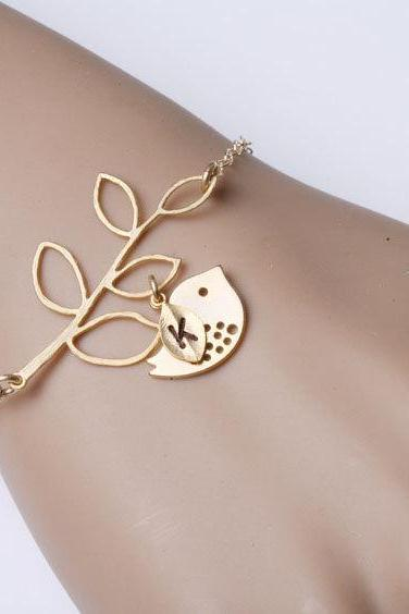 Leaf branch and bird bracelet,leaf bracelet,Gold Bird bracelet,Birthday,simple daily Jewelry,flower girl,birthday,Mom and baby