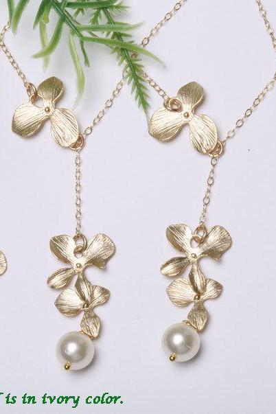 Set of 4,Bridesmaid Gifts,Wedding jewelry,Orchid flower lariat necklace,flower jewelry,Flower girl,Sterling silver,Adjustable