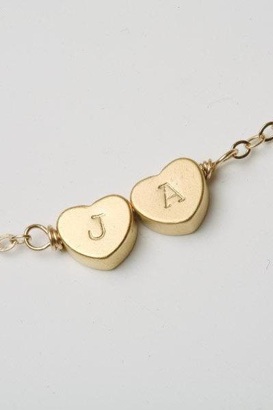 Heart initial necklace,Gold necklace,Monogram initial,Bridesmaid gifts,Birthday,Friendship,Mother Jewelry