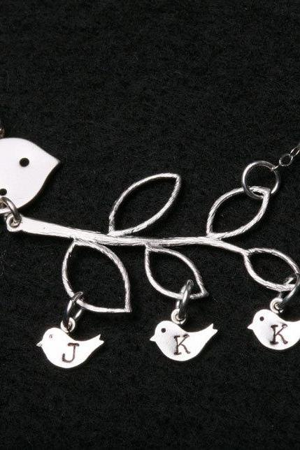 Bird initial,Bird Necklace,Grandmother,Mother Jewelry,Three initial charms,Mother's day,Family Bird,Lariat Sterling Silver Necklace
