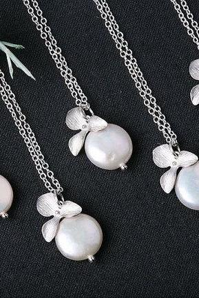 Set of 4,FreshWater Coin Pearl and Orchid Flower Sterling Silver Necklace,flower girl,Bridesmaid gifts,Wedding jewelry,Bridal