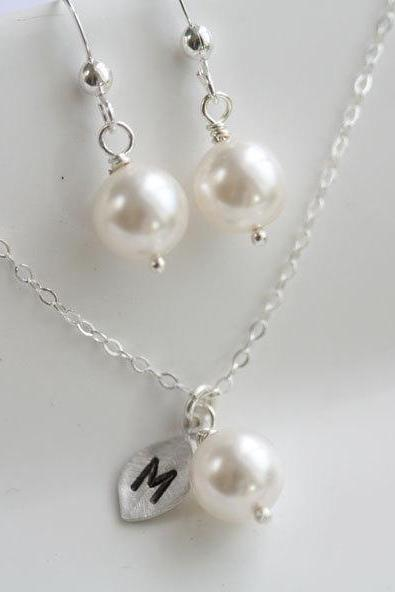 Bridesmaid jewelry SET, Initial Leaf Necklace,wire wrapped pearl Pearl STERLING silver Earrings, Wedding Jewelry, Flower girl Gifts
