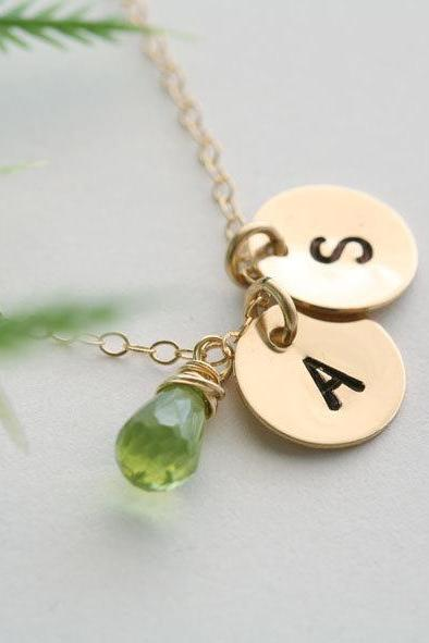 Two Initials GOLD Fill Necklace, Customize birthstone Necklace, Simple daily jewelry,Wedding Jewelry, Best friends Necklace, Mothers Jewelr
